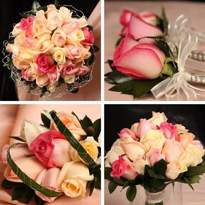Full Wedding Collection contains: 1 Bridal Bouquet, 1 Groom Boutonniere, 1 Toss away Bqt, 1 Maid of...