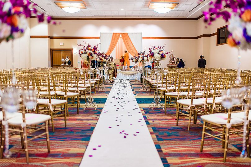 Wedding aisle with petals