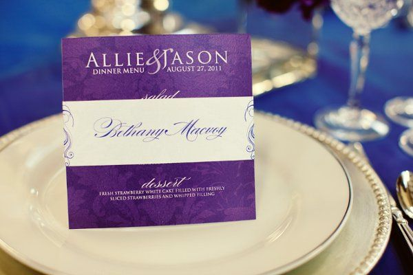 Allie + Jason Dinner Menu and Placecard Band