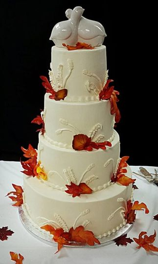 All buttercream cake with 100% edible leaves made from wafer paper and edible airbrush coloring