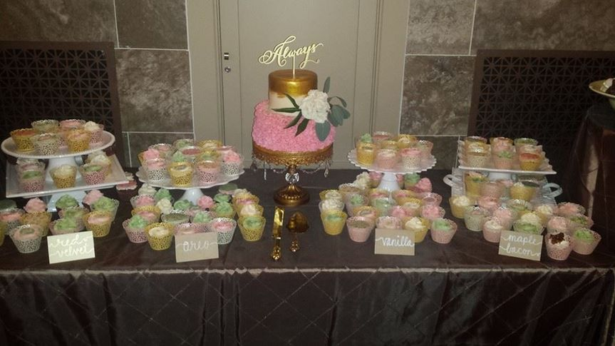 Wedding Cake and assorted cupcakes