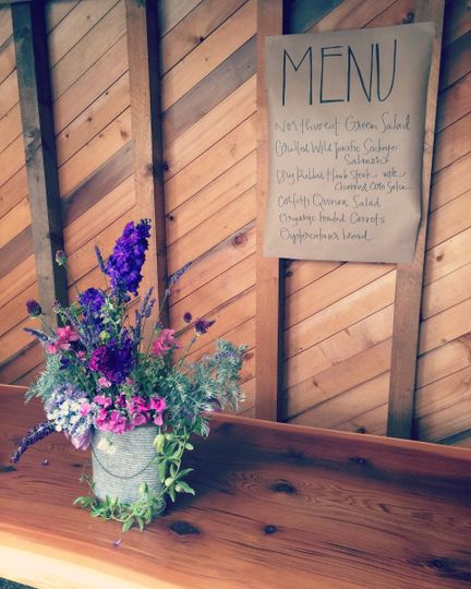 Beautiful private barn wedding in Clinton featuring our hand-written craft paper menu