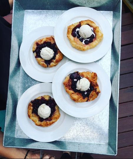 Blueberry galettes with Whidbey Island vanilla lavender ice cream