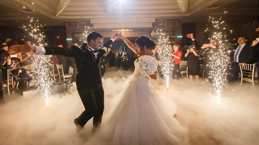 Sharing a first dance in the clouds