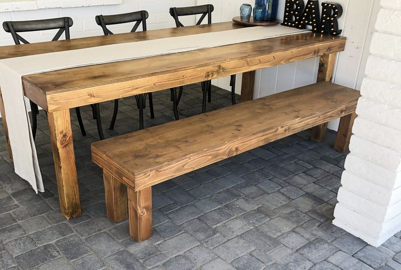 Eight-foot table and bench