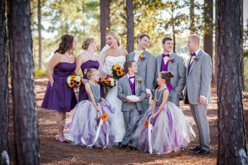 Jen's Purple & Gold Fall Wedding  Makeup for the bride & bridesmaids, and hair for the bridesmaids.
