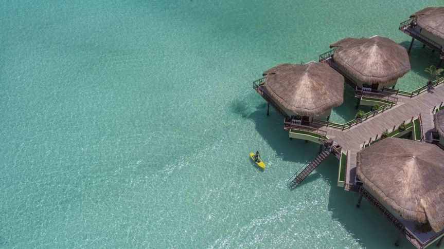 Overwater bungalows in Cancun