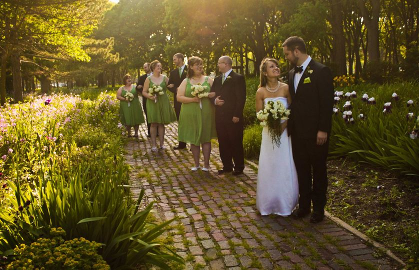 Bridal Party at the Botanical Gardens, Nebraska Wedding