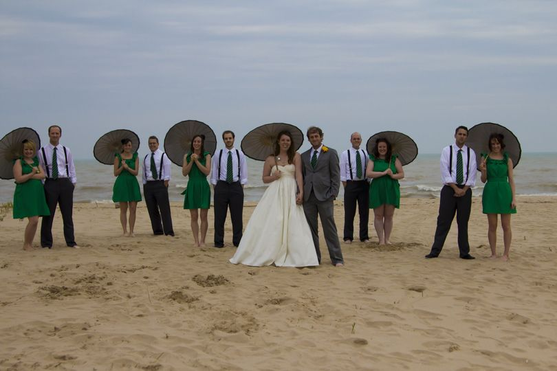 Bridal party at the beach, Milwaukee, Lake Michigan