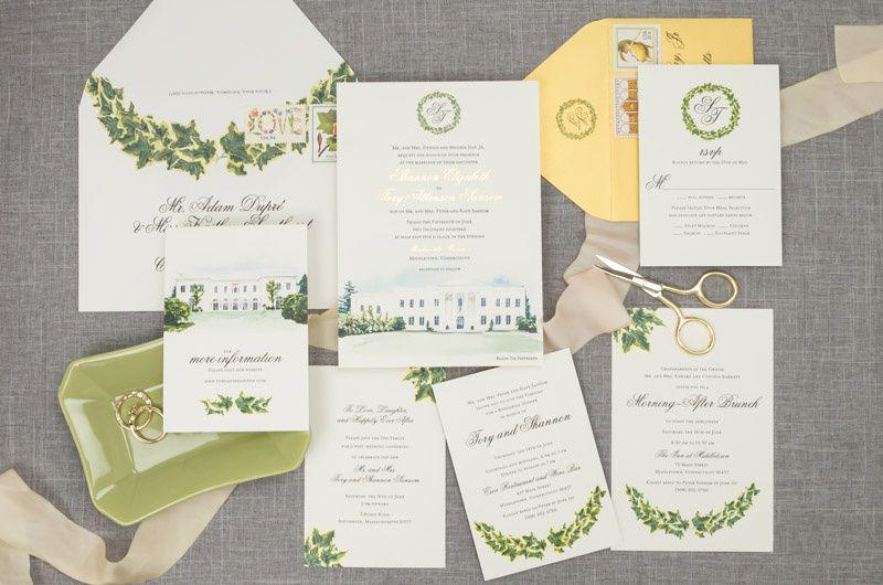 Custom venue wedding invites