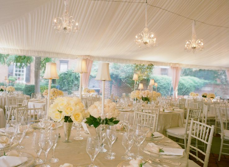 Ivory and Blush wedding reception at Decatur House