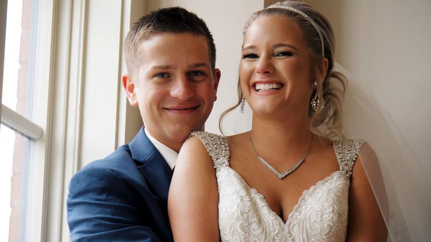 Summer and Nathan before their wedding ceremony.