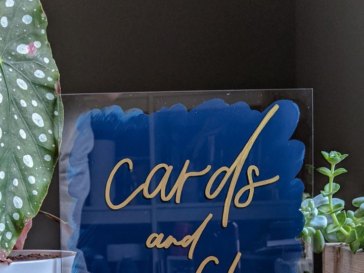 Tmx Card And Gifts Blue And Gold Acrylic Sign 51 1895959 158531711012091 Indianapolis, IN wedding invitation