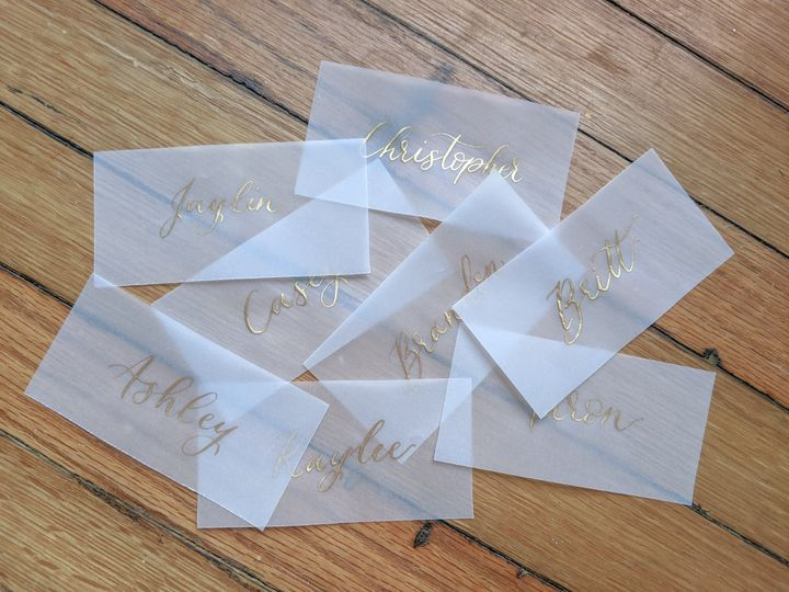 Tmx Gold Ink Vellum Place Card 51 1895959 158531657734459 Indianapolis, IN wedding invitation