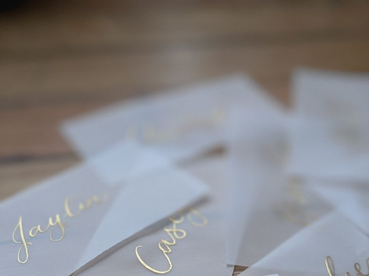 Tmx Gold Ink Vellum Place Cards 51 1895959 158531658527945 Indianapolis, IN wedding invitation