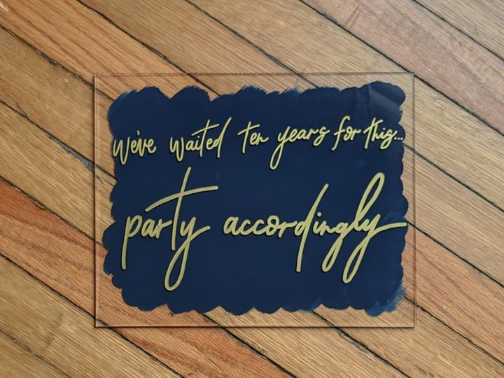 Tmx Party Accordingly Acrylic Blue And Gold Sign 51 1895959 158531713193161 Indianapolis, IN wedding invitation