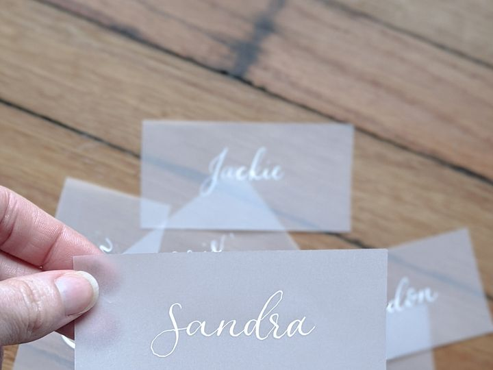 Tmx White Ink Vellum Place Cards 51 1895959 158531662546331 Indianapolis, IN wedding invitation