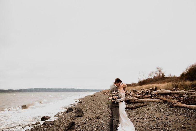 Couple kissing on a beach