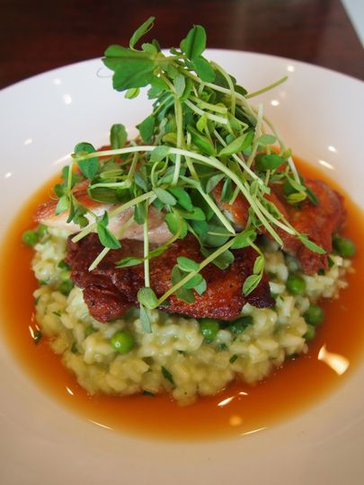 chicken thighs pea risotto pea tendrils