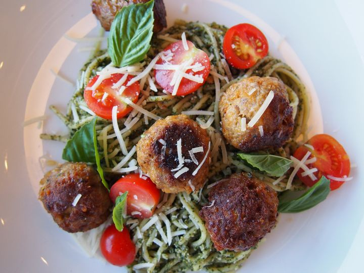 pork meatball pesto spaghetti