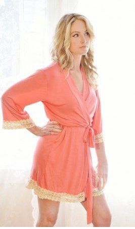 Serendipity Robe- In coral with cream vintage lace trim.