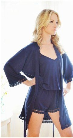 Serendipity in Navy Romper with Robe. Matching lace trim