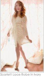 Scarlett Lace Robe in Cream