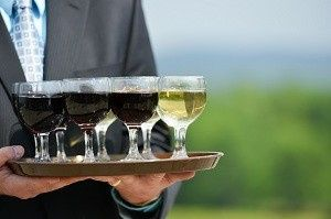 glasses of wine on tray
