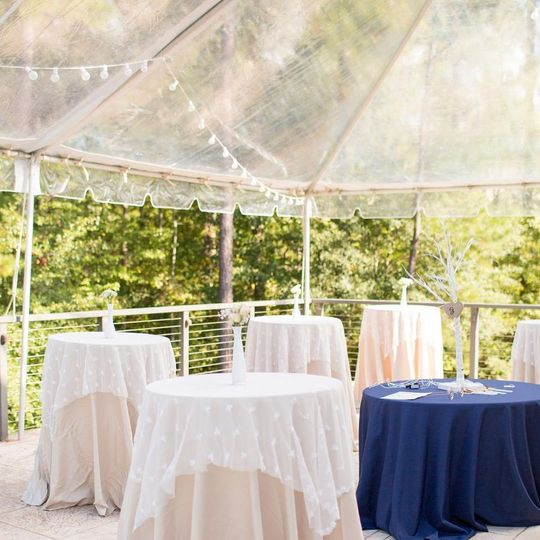 Clear tent with cafe lighting