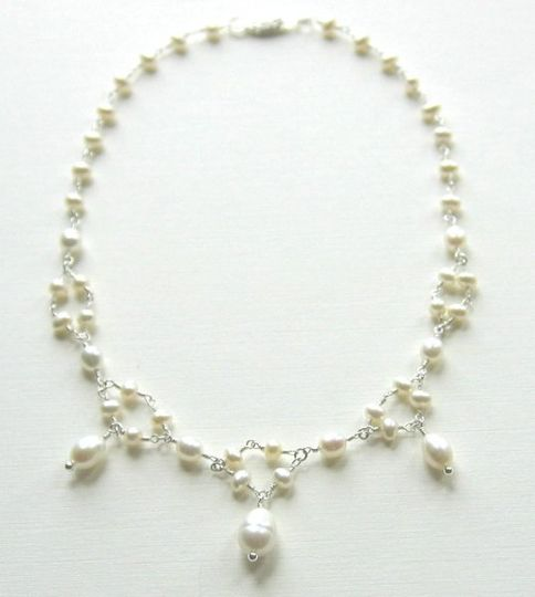 Three sizes of freshwater pearls