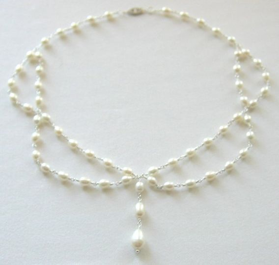 Draping freshwater pearls create this 