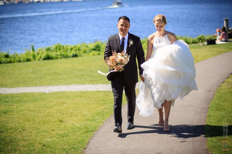 Bride and groom after ceremony. Cory Parris Photography.