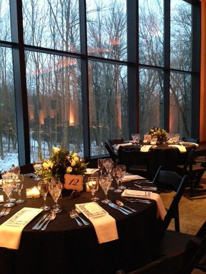 A winter wedding in The Vollmer Center, complete with a snow covered landscape.