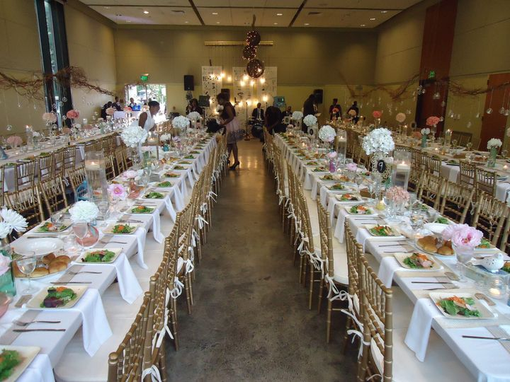 The auditorium of The Vollmer Center can seat up to 200 guests for dinner-and still have room for a...