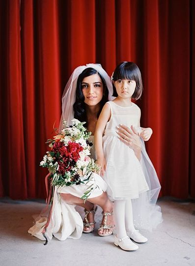 Bride and the flower girl