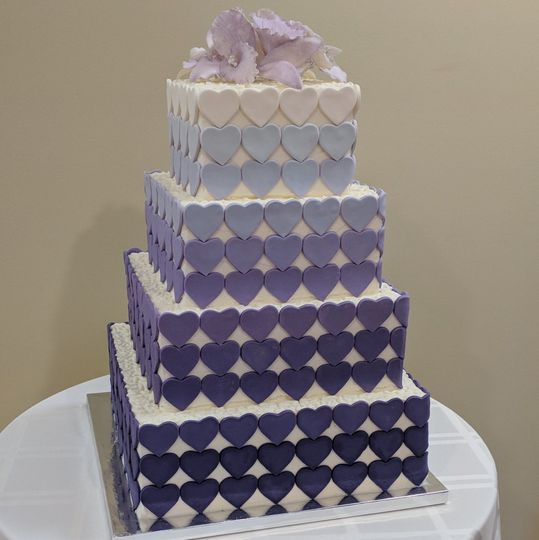 Ombre' purple heart wedding cake