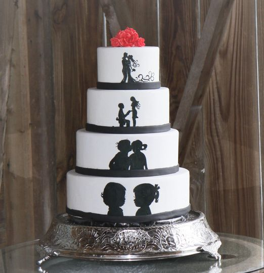 Couples' story hand painted cake