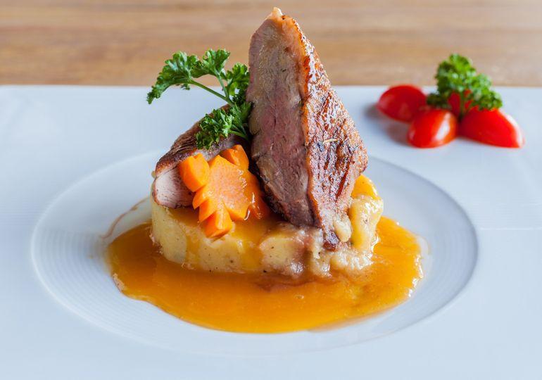 new york strip steak with mashed potato fancy fies