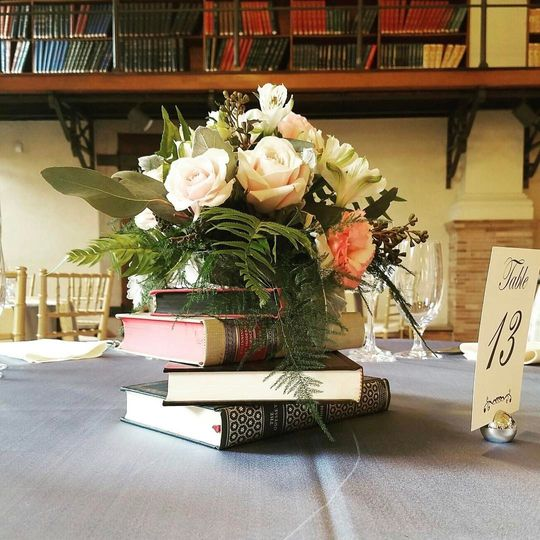 Sample centerpiece on top of books