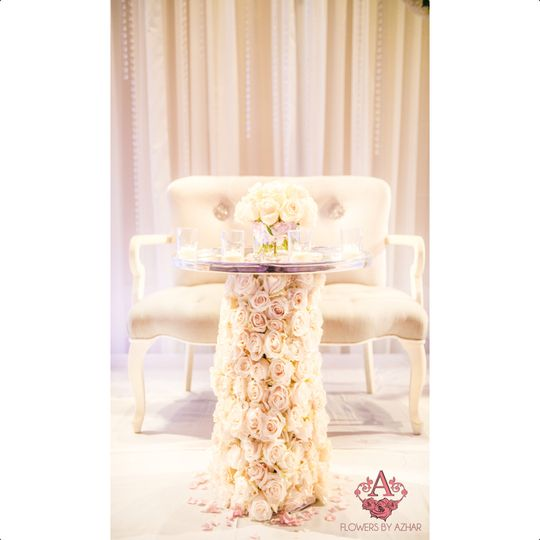 Close up of the Sweetheart Table we created for the Bride & Groom! Table is dressed up with...