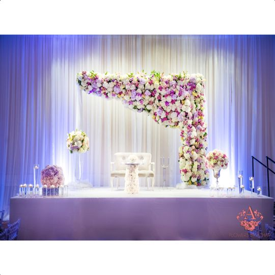 Sweetheart table for the Bride & Groom on a raised riser! Absolutely loved this look! Backdrop with...