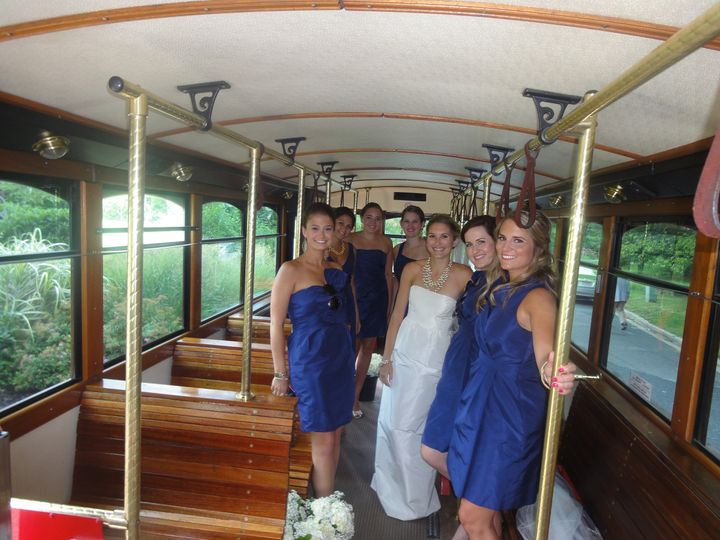trolley with devaney bride and bridesmaids