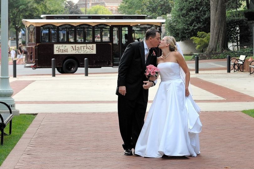 trolley with bride and father 1 1