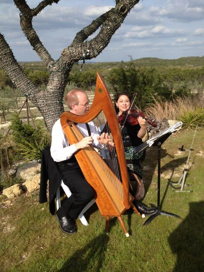 The Celtic harp & viola at a wedding at Rancho Mirando. A  venue in Wimberley, TX with breathtaking...