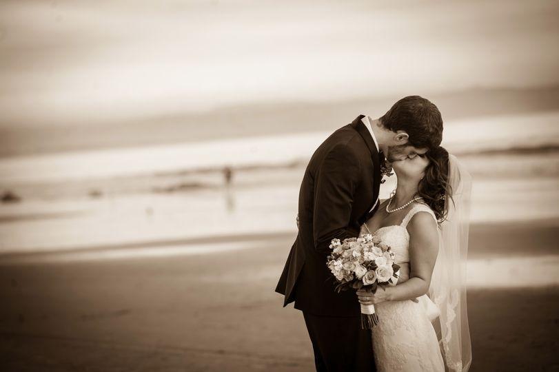 Coronado Beach Wedding Kiss