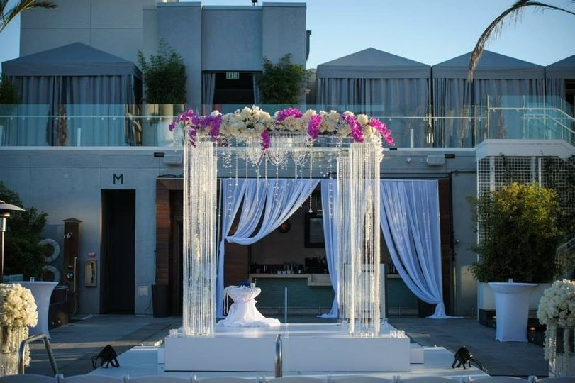 Crystal and Acrylic Chuppah with roses and orchids