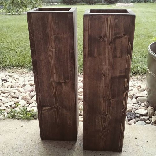 Rustic wood floor vases. Sizes can be customized. See listing on www.etsy.com/shop/fortwagler