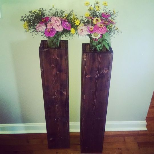 Rustic wood floor vases, with pedestal shelf for flower arrangement. Sizes can be customized. See...