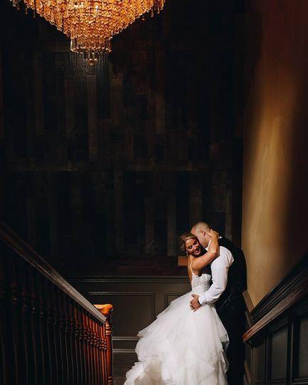 Beneath the chandelier