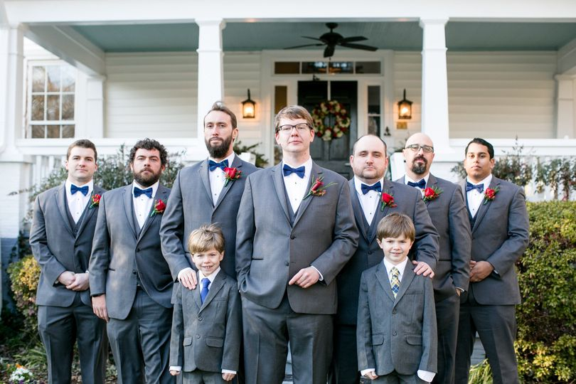 Grooms Party Front Of House